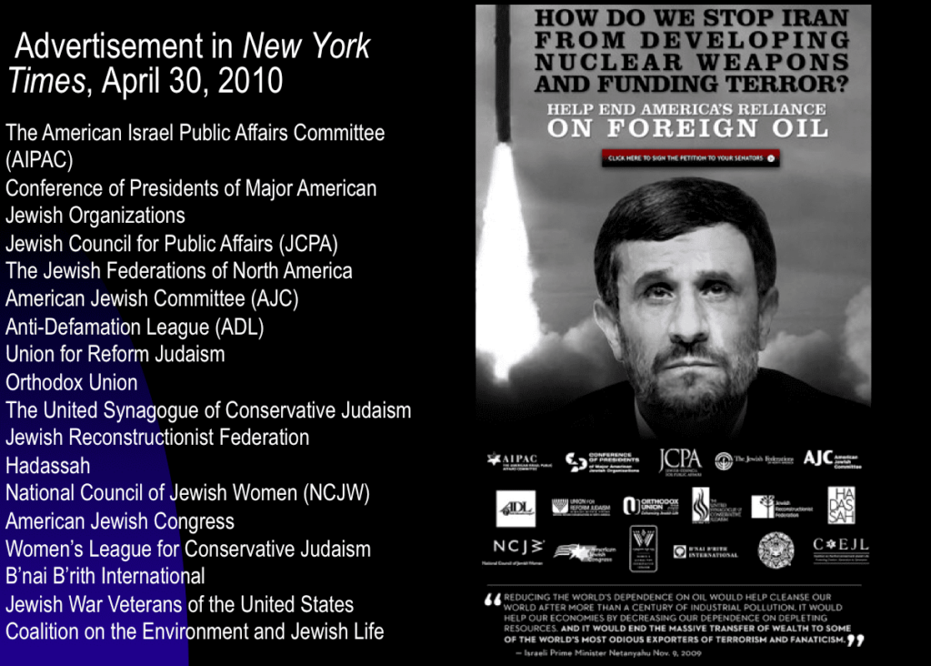 New York Times ad demonizing Iran
