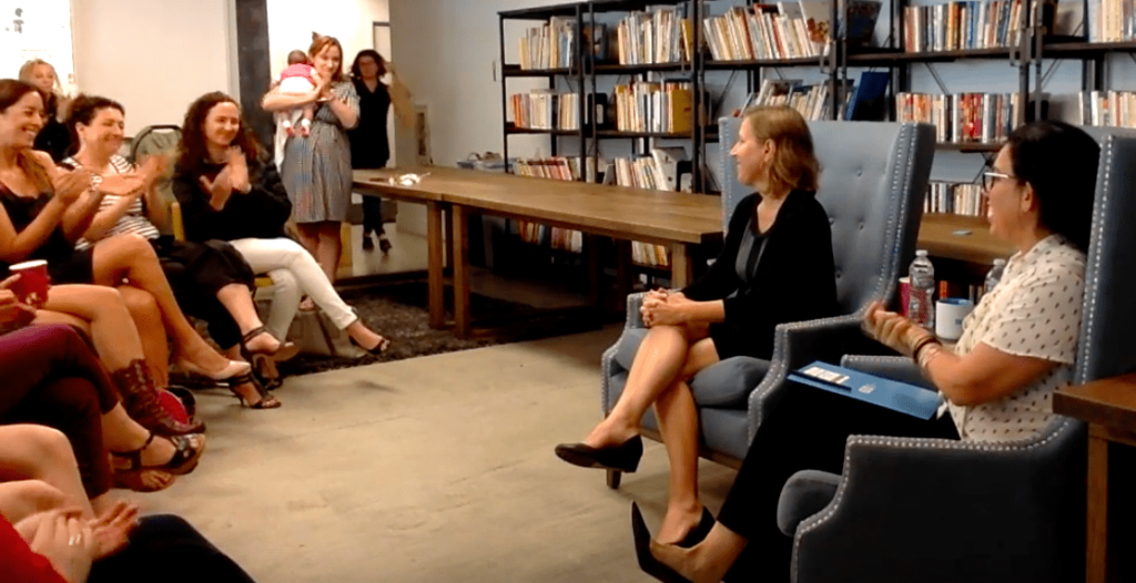YouTube CEO Susan Wojcicki speaking to a group of women in tech who are a part of the Israel Collaboration Network.