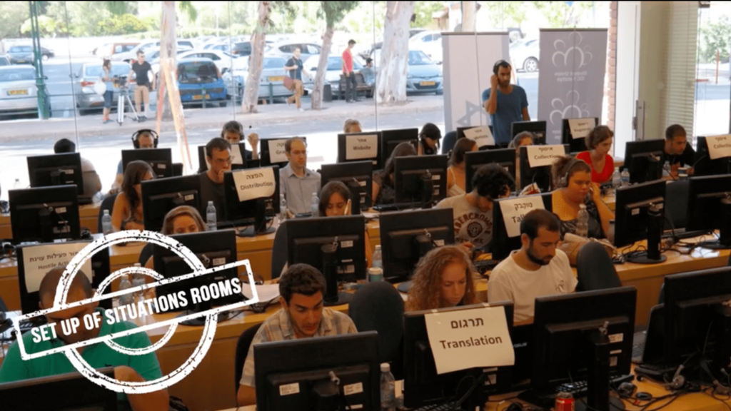 Several rows of students working at computers in what is deemed a situation room in Boston for students to employ mass efforts to influence and censor the internet.