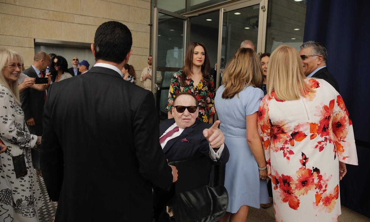 Adelson at US Embassy opening in Jerusalem