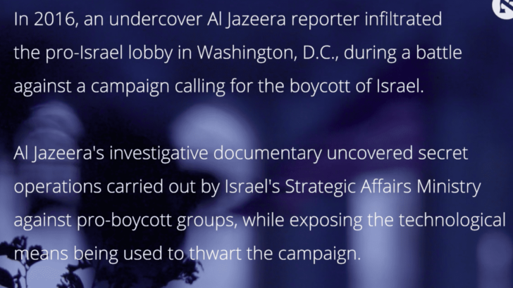 Censored Al Jazeera documentary uncovers 'rotting foundation' of U.S. Israel lobby
