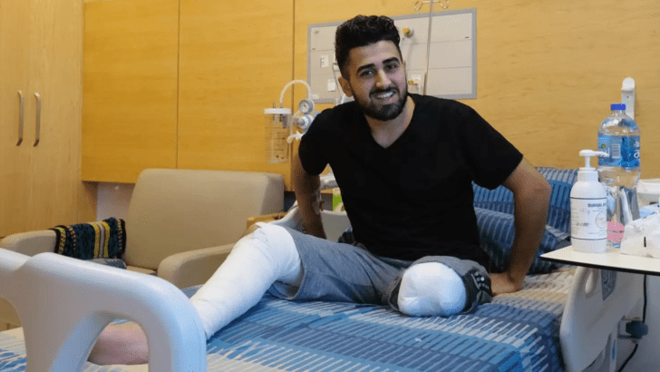 Yousef Kronz, amputee, in hospital