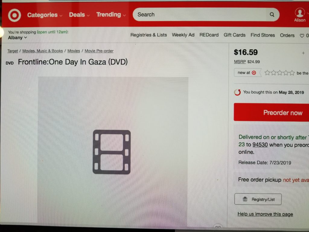 Frontline One Day In Gaza DVD on Target website