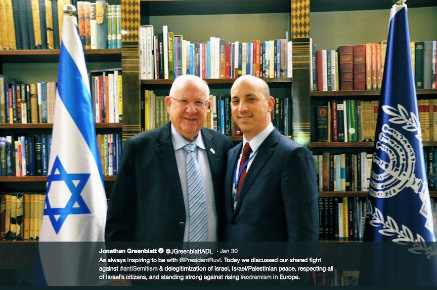 ADL head Jonathan Greenblatt with Israeli president