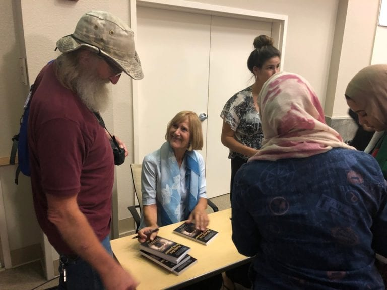 Alison Weir signing books at Clovis Community College