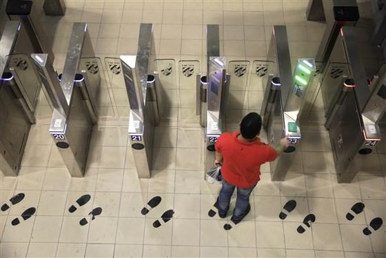 Palestinian man at biometric gate