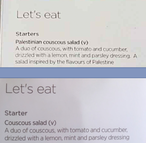 """menus from virgin atlantic - with and without """"palestinian"""""""