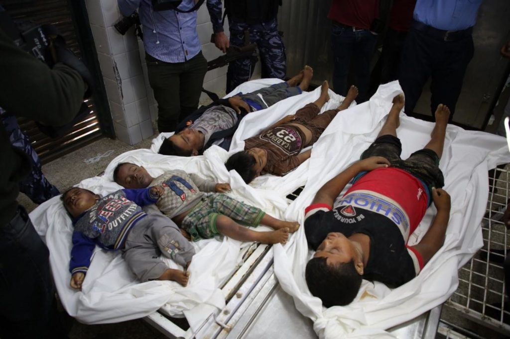 Photo of 5 dead children from al-Sawarka family
