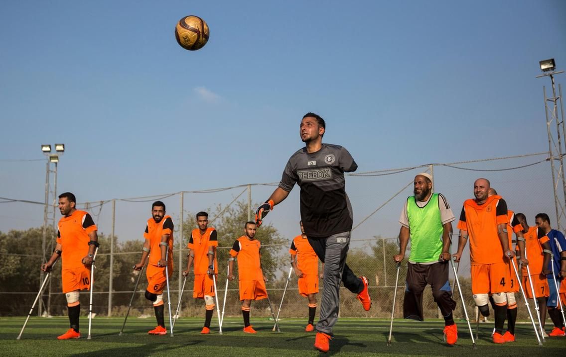 Palestinian goal keeper Islam Amoun in Gaza's first amputee football team.