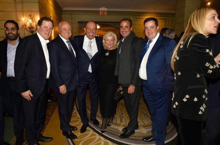 Guests at World Jewish Congress Gala at the Pierre in New York City, Nov. 5, 2019. (L-R) Michael Alpert, Alex Balemebsky, Alexander and Larisa Mashkevitch, Ben Askenazy and Emmanuil Grinshpun.