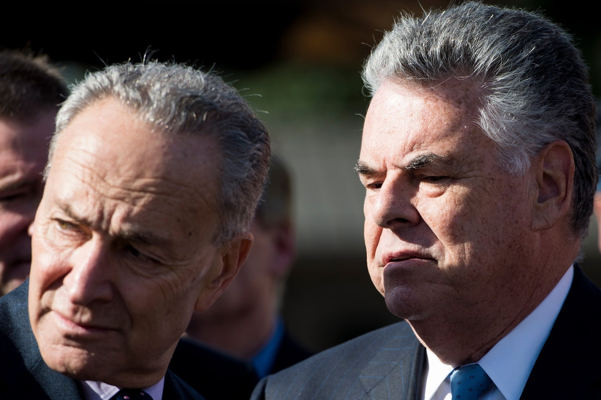 "Senator Chuck Schumer and Congressman Peter King, 2015. Schumer, who calls himself ""a guardian of Israel,"" praised King as ""head & shoulders above everyone else"" in Congress."