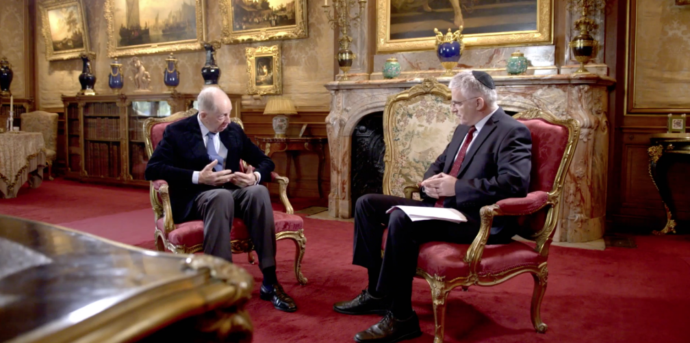 TV interview of Lord Jacob Rothschild conducted by former Israeli Ambassador Daniel Taub, Feb. 2017. Lord Rothschild described how a Rothschild family member had helped obtain the Balfour declaration, a key document in eventually establishing a Jewish state in Palestine.