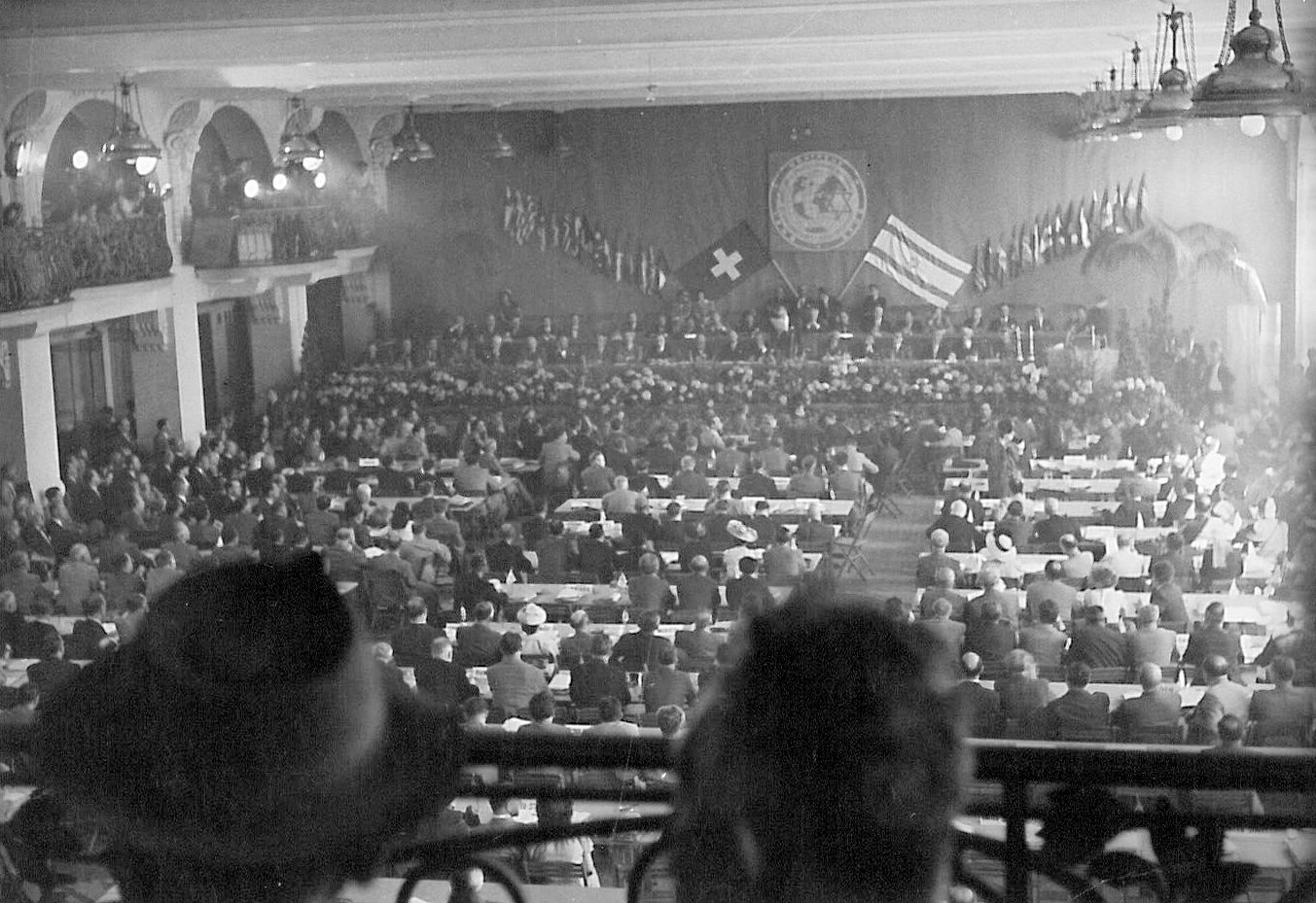 Delegates at the Second Plenary Assembly of the World Jewish Congress in Montreux, Switzerland, June 28, 1948.