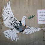 One of six images painted by British street artist Banksy as part of a Christmas exhibition in the West Bank town of Bethlehem December 2, 2007.