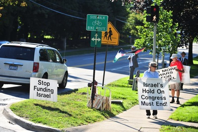 vigil in support of Palestinian rights in Ann Arbor