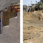 relatively minor damage to israeli home from hamas rocket; huge crater in gaza from israeli airstrike