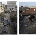 Left: Palestinians gather around a destroyed house after an Israeli air strike in Khan Younis in the southern Gaza Strip. Right: Israeli police explosives experts work atop a roof damaged after a rocket fired from the Gaza Strip landed in the southern Israeli town of Ofakim November 18, 2012.