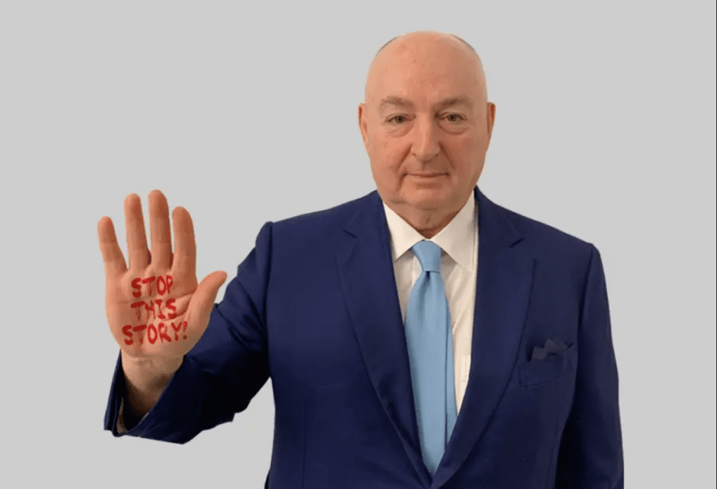 Viatcheslav Moshe Kantor demonstrating Stop This Story campaign