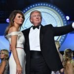 President Donald Trump and First Lady Melania Trump dance at the Freedom Ball on January 20, 2017 in Washington, D.C.