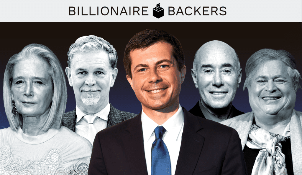 Candidate Pete Buttigieg and four of his billionaire donors