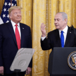 Israeli Prime Minister Benjamin Netanyahu, with US President Donald Trump, at the launch of Trump's Middle East peace plan in the East Room of the White House, Washington, DC. January 28, 2020
