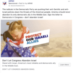 "AIPAC's Facebook ad calling ""radicals"" in the Democratic Party ""anti-Israel"" and ""anti-Semitic."""