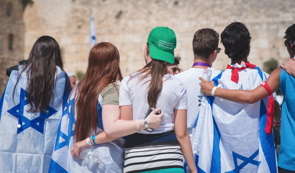 Photo of teens on BBYO trip to Israel wearing Israeli flags