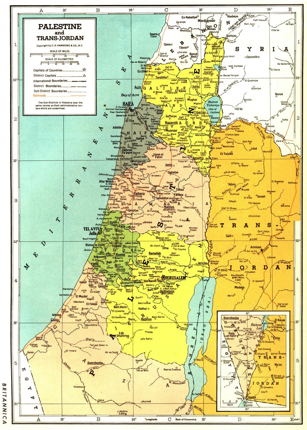 Map of Palestine c. 1922