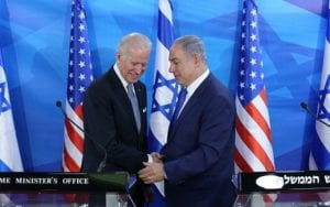 Benjamin Netanyahu shakes hands with Joe Biden, begging the question, will the DNC platform favor Israel?