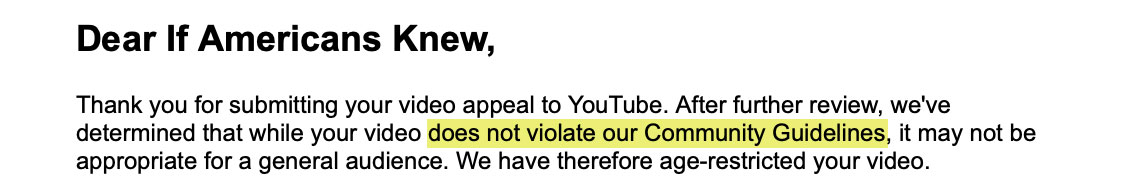 YouTube's response to our appeal