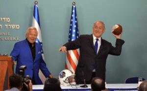 Netanyahu and Robert Kraft; Kraft announced his foundation to combat anti-semitism