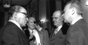 South Africa's prime minister John Vorster (second from right) is feted by Israel's prime minister Yitzhak Rabin (right) and Menachem Begin (left) and Moshe Dayan during his 1976 visit to Jerusalem.