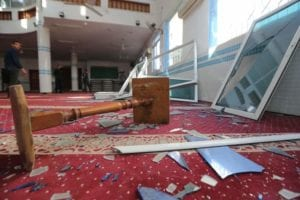 israel airstrike damages mosque in gaza