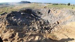 israel airstrike leaves huge crater gaza