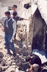rubble of jenin refugee camp after massacre