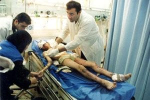 A young boy is treated at the Jenin hospital after Israel's attack