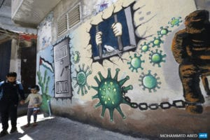 israeli prison wall depicting covid virus