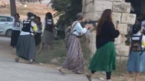 Armed Israeli settler women stormed the occupied town of al-Masoudiyaa, August 2019
