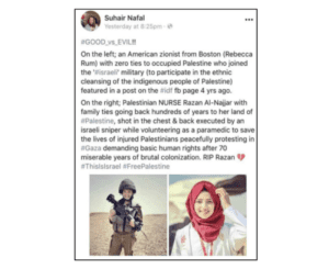 Suhair Nafal's Facebook post and the impetus for the lawsuit against her