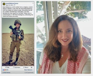 An IDF Facebook post featuring Rumshiskaya, left, and a photo of Suhair Nafal provided to MintPress, right