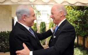 Israeli Prime Minister Benjamin Netanyah greets US Vice President Joe Biden in Jerusalem, March 9, 2010.