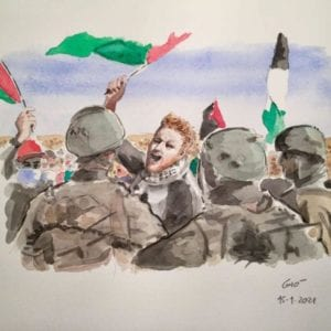 An illustration of Sami Huraini during the January 8 protest by an Italian illustrator