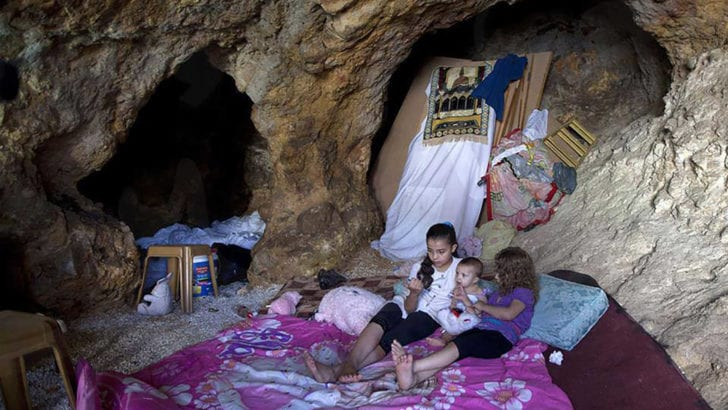 When Israel demolishes Palestinians' homes, they live in caves