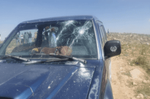 The Awads' vehicle after it was attacked by Israel settlers last Saturday
