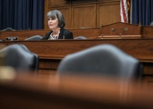 Rep. Betty McCollum (D-MN), critic of Israeli policies, asks questions during a hearing in Washington, D.C., on June 11, 2020.