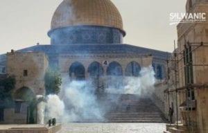 tear gas obscures the al aqsa mosque